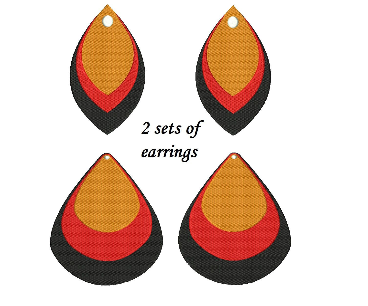 Stacked Earrings Embroidery Designs 2 designs instant