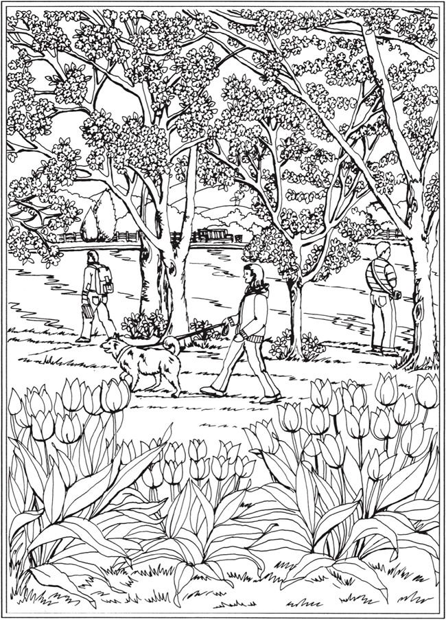 creative haven spring scenes coloring book by teresa goodridge coloring page 6 welcome to dover publications