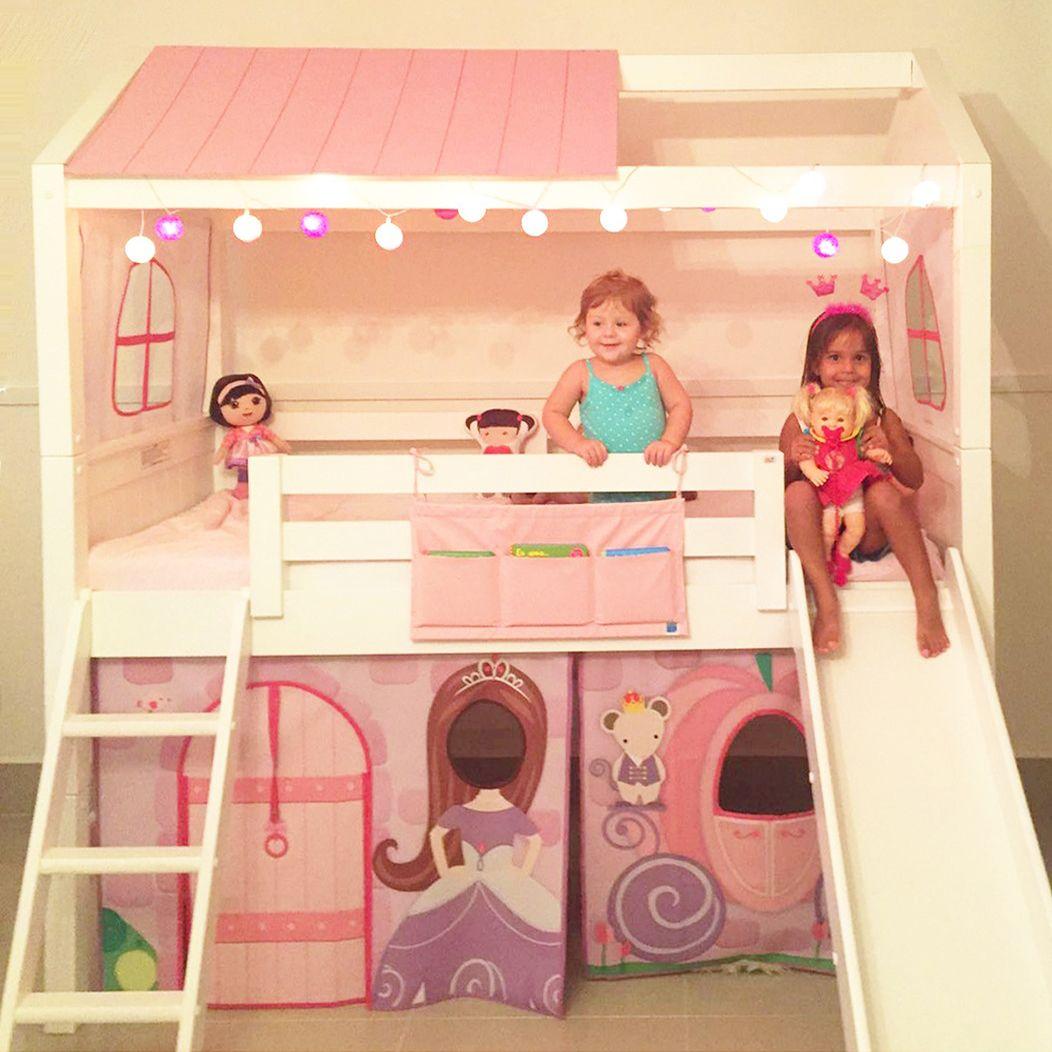 Cama Casinha Com Escada E Escorrega Tema Princesa Da Intercasa  ~ Quarto Infantil Planejado Princesas