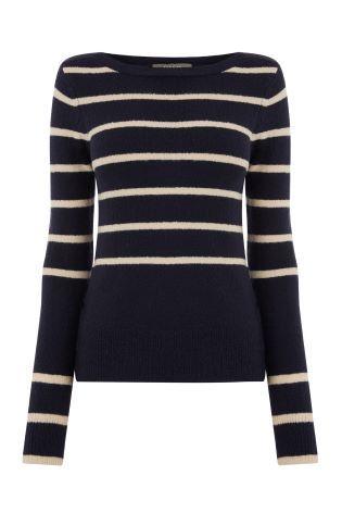 f428fd33bb05 Oasis Blue Kirsty Striped Crew Jumper   Fashion   Fashion, Blue ...
