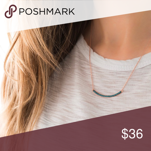 Turquoise Bar Necklace   Rose Gold 925 Silver