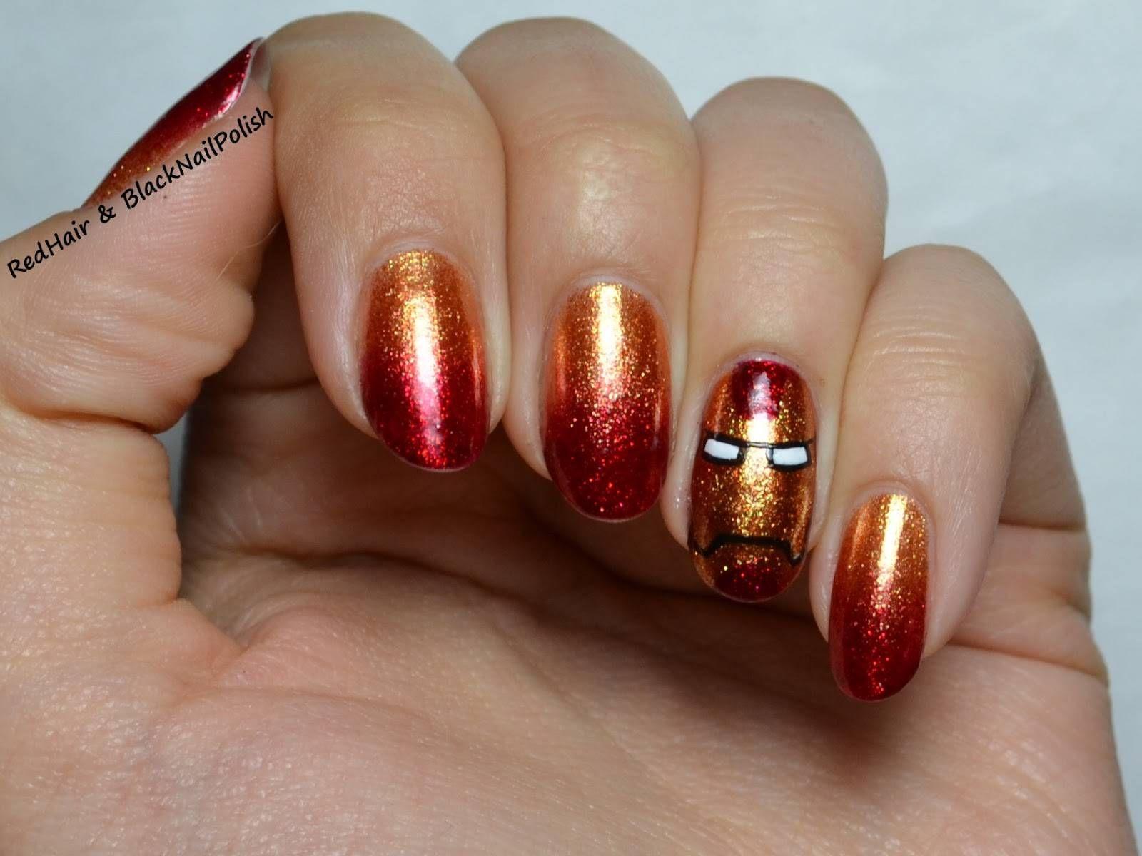 iron man nails, glitter , iron man, marvel , movie, avengers,nail ...