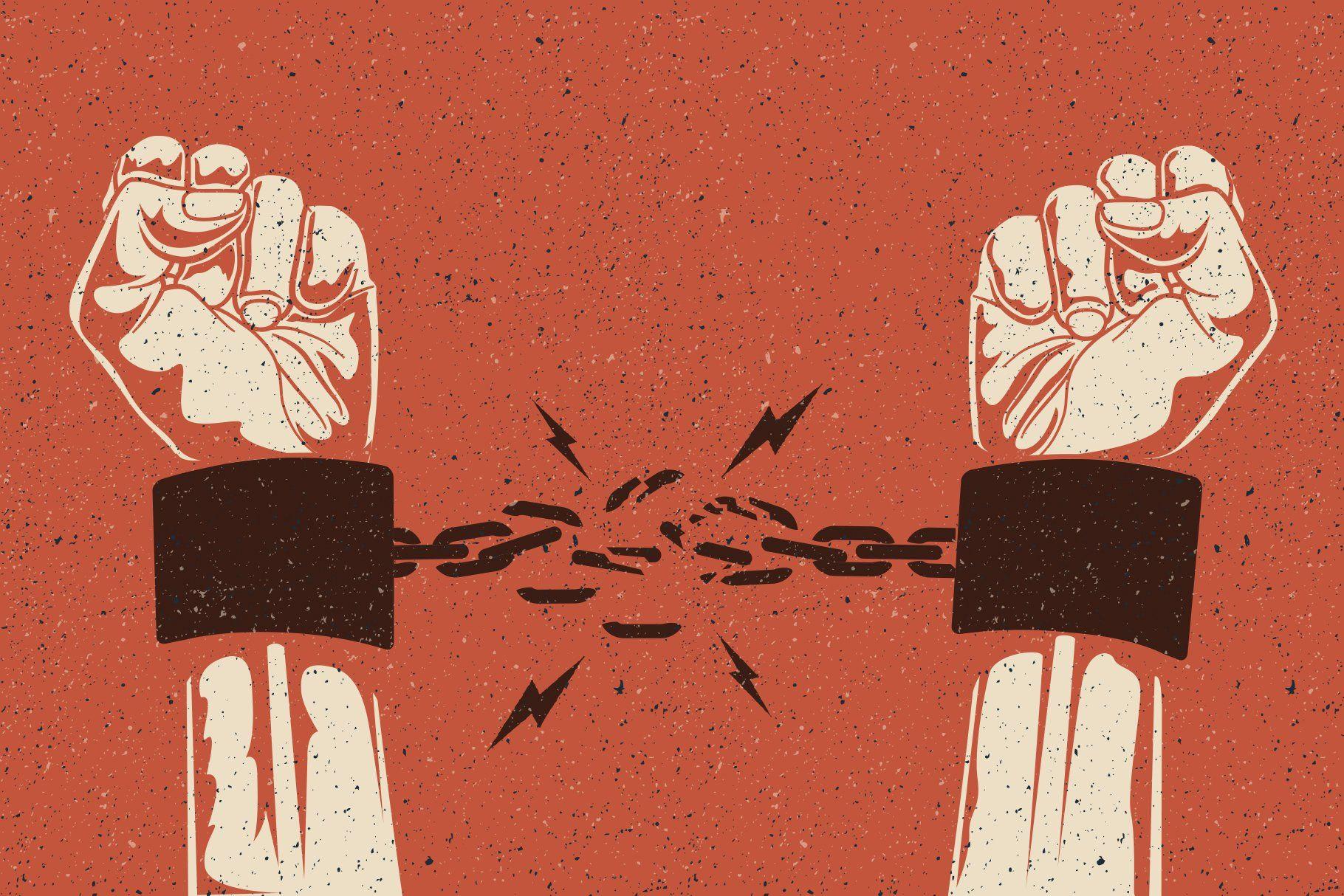 Human Hands Break The Chain Protest Art Broken Chain Illustration