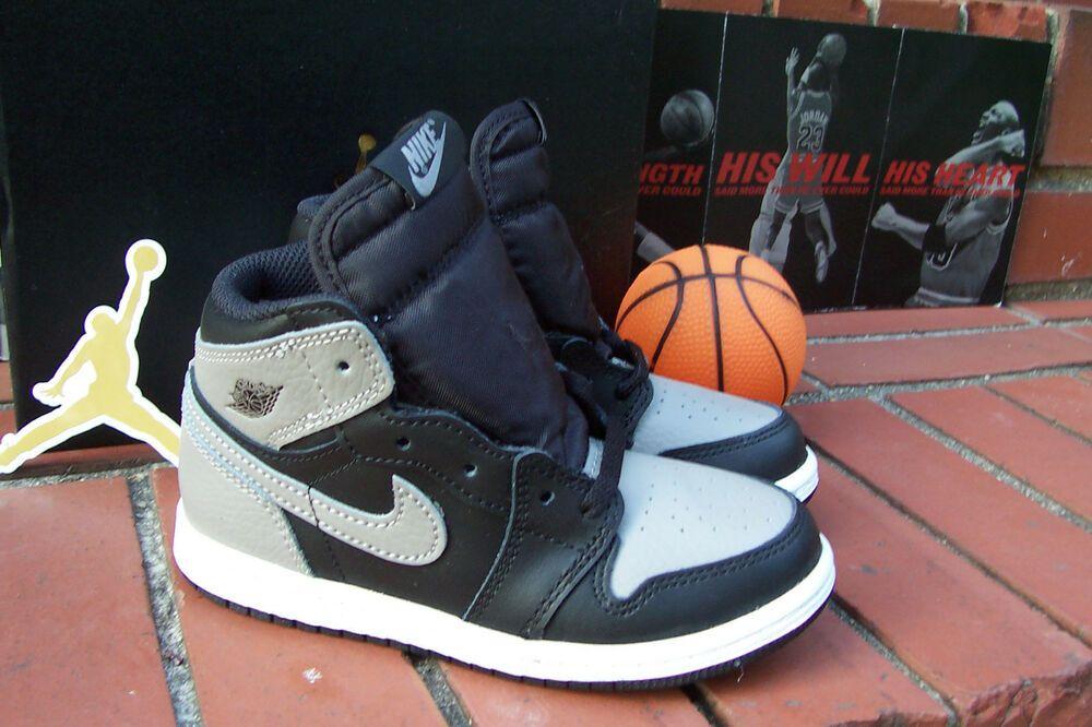 new product 13ac6 9daa5 NEW Nike Air Jordan Retro 1 OG HIGH SHADOWS Blk Medium Grey TD Toddler Sz  10c