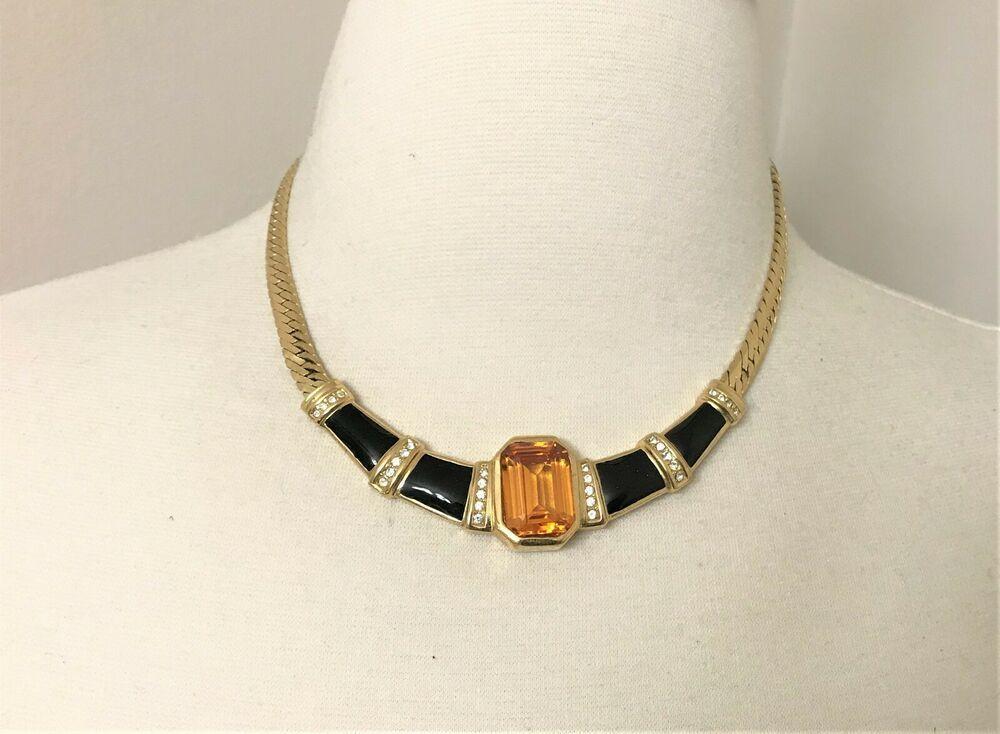 Vintage Christian Dior Enamel Topaz  Gold Tone Necklace