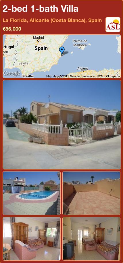 2-bed 1-bath Villa in La Florida, Alicante (Costa Blanca), Spain ►€86,000 #PropertyForSaleInSpain