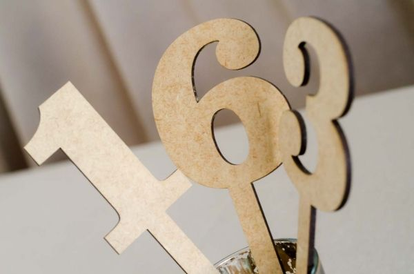 wooden number for tables at Midlands Style Events