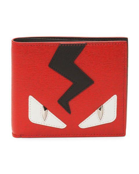 890e8effc1d NEW FENDI Men's Creature Bi-Fold Monster Eyes Leather Wallet Red White Black
