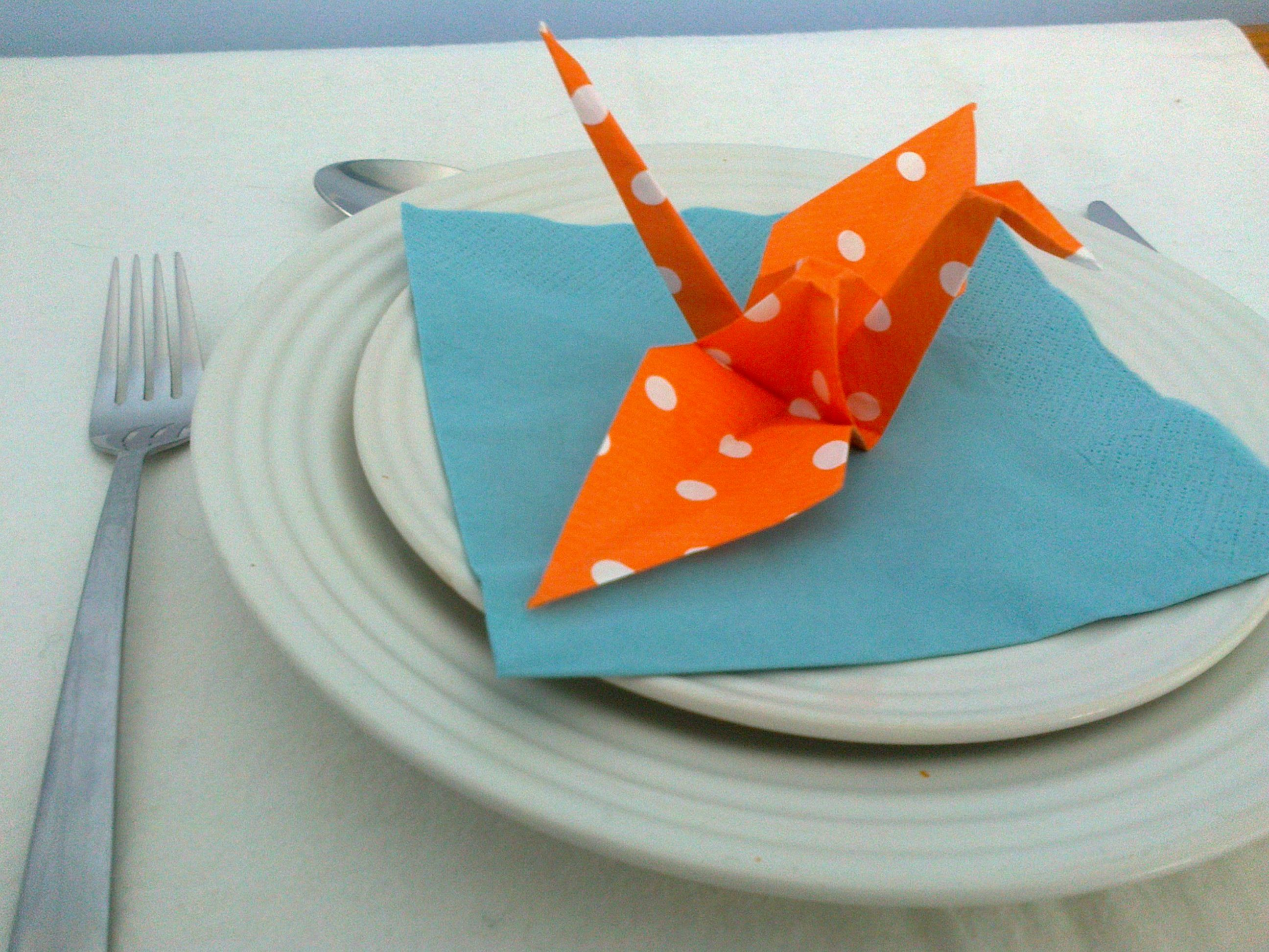 Origami crane escort cards place settings in orange and white origami crane escort cards place settings in orange and white dot paper on jade jeuxipadfo Choice Image