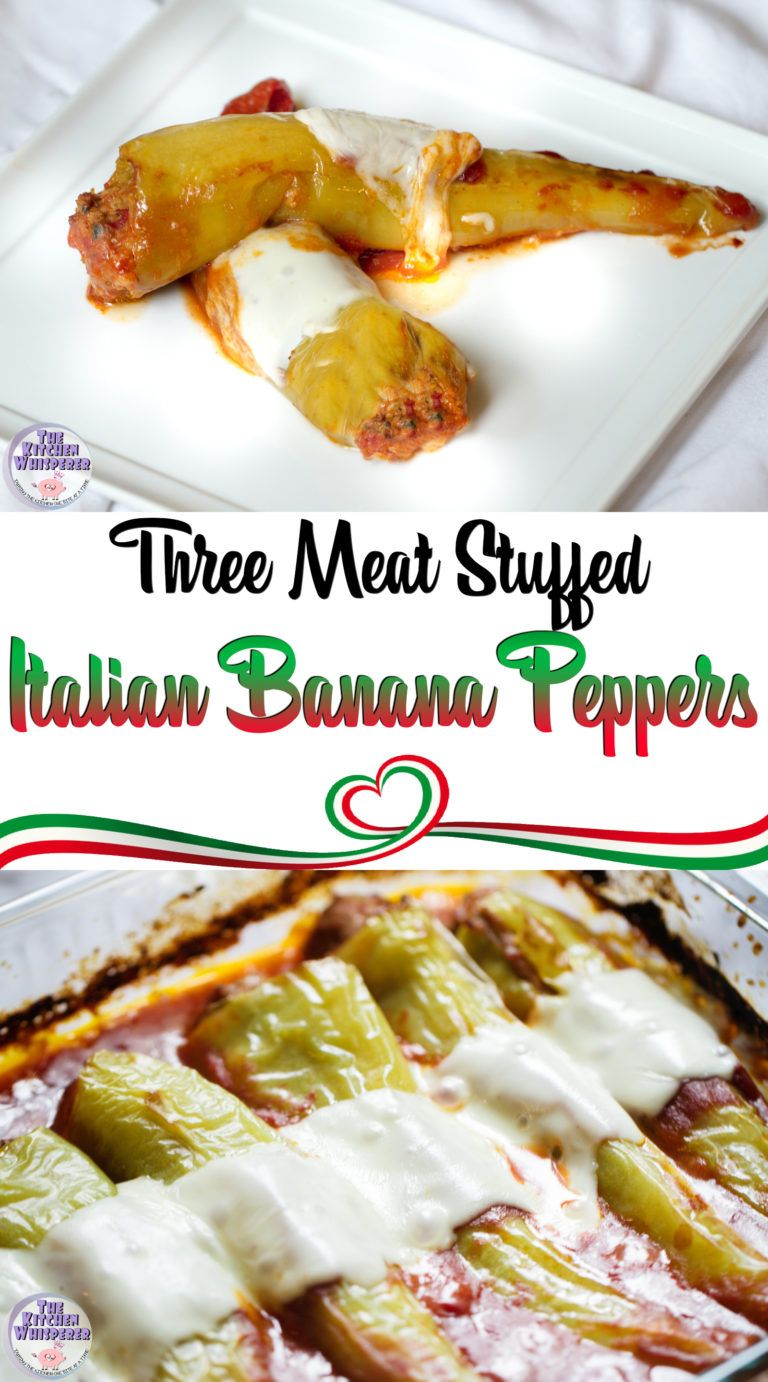 Three Meat Stuffed Italian Banana Peppers Recipe Appetizers Stuffed Peppers Stuffed Banana Peppers Recipes With Banana Peppers