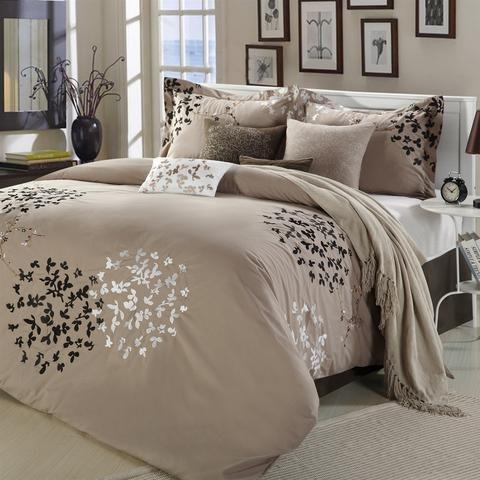 Best Queen Size 8 Piece Comforter Set In Light Brown Black Tan 400 x 300