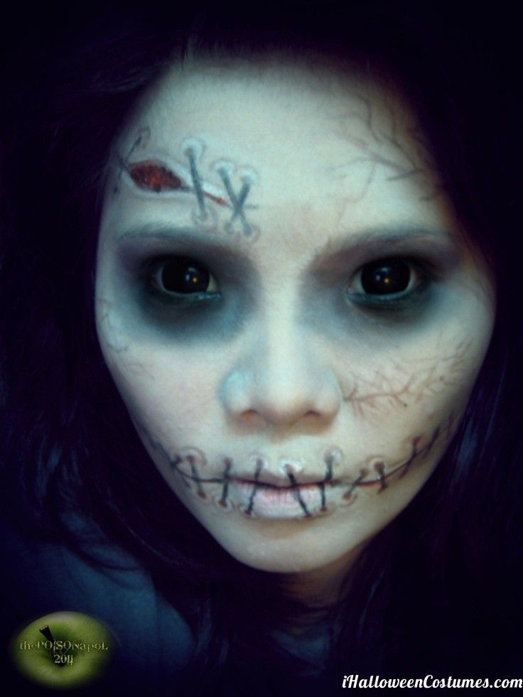 doll makeup for Halloween - for some reason the stitched lips have ...