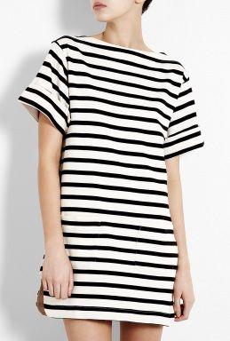 Cream And Black Nagat Breton Stripe Tunic Dress by By Malene