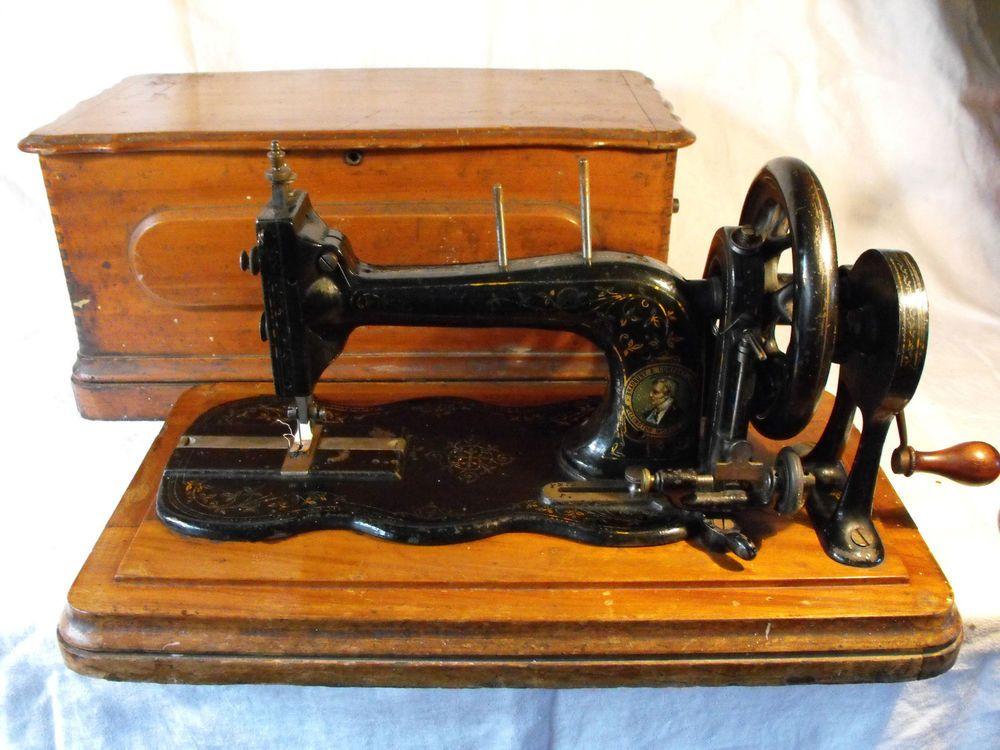 Lovely Vintage Antique Fiddle Base Sewing Machine Bradbury Singer Wooden Box & Lovely Vintage Antique Fiddle Base Sewing Machine Bradbury Singer ... Aboutintivar.Com