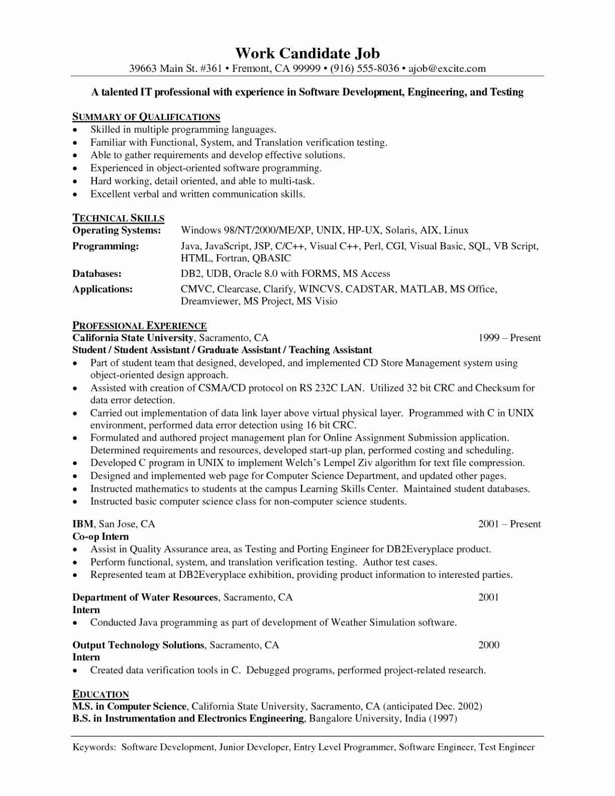 Entry Level software Developer Resume Luxury Junior