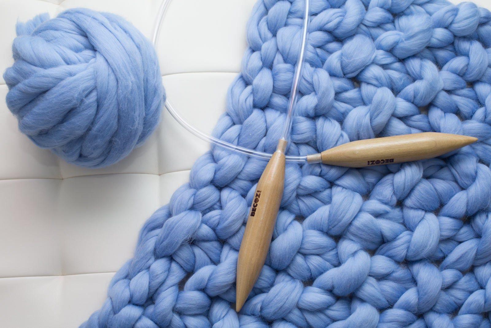 Blanket Knitting kit, Queen size 58x70 blanket, Giant