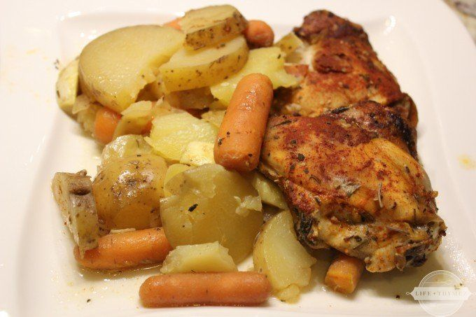 Low-FODMAP slow cooked chicken thighs with potatoes and carrots