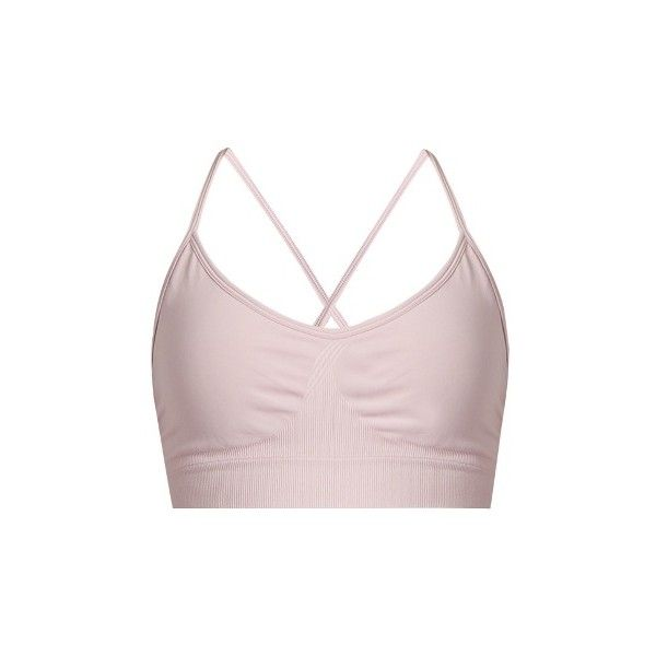 Pepper & Mayne Cross-back compression performance bra ($50) ❤ liked on Polyvore featuring activewear, sports bras, light pink, compression sportswear, strappy sports bra, seamless sports bra, criss cross back sports bra and pink sports bra