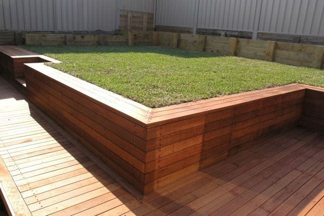 Timber retaining wall Outdoor spaces Pinterest Retaining