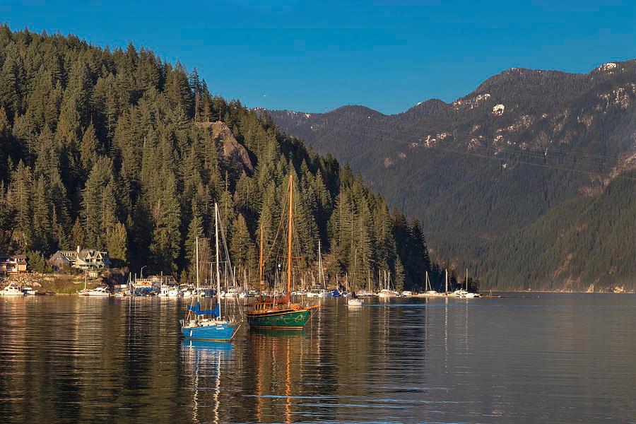 Nature Photograph - Marina At A Coastal Village by Alex Lyubar #AlexLyubarFineArtPhotography #VancouverCanada#NorthVancouver#Harbor#DeepCove#CoastalVillage#Marina#SailingYachts#ArtForHome#HomeDecor#FineArtForSale