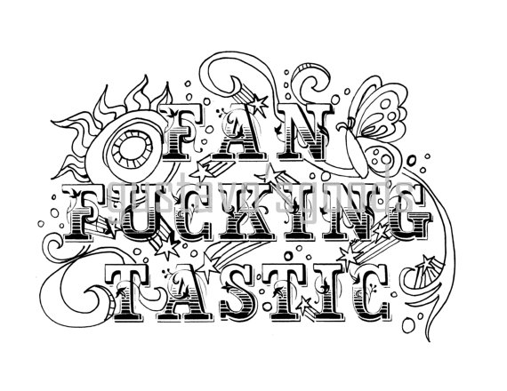 Swear Word Coloring Book Page Fanfckingtastic Curse Cuss Adult Printable