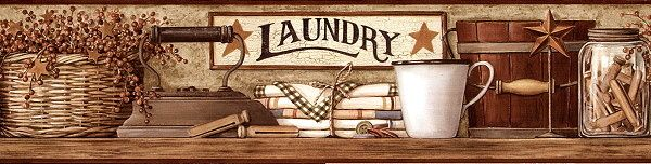 Country Laundry Red Laundry Room Border In Browns And Burgundy