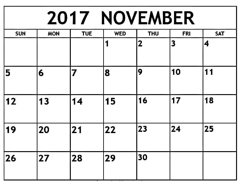 November 2017 Printable Calendar Template Httpmobispirit2017