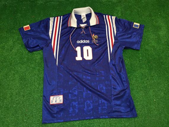 Vintage Zinedine Zidane France Euro Cup 1996 Adidas Soccer Football Jersey Shirt Sz L France Euro Football Jersey Shirt Zinedine Zidane