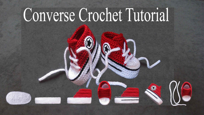 tuto des baby converse - Recherche Google | Chaussons crochet patron ...