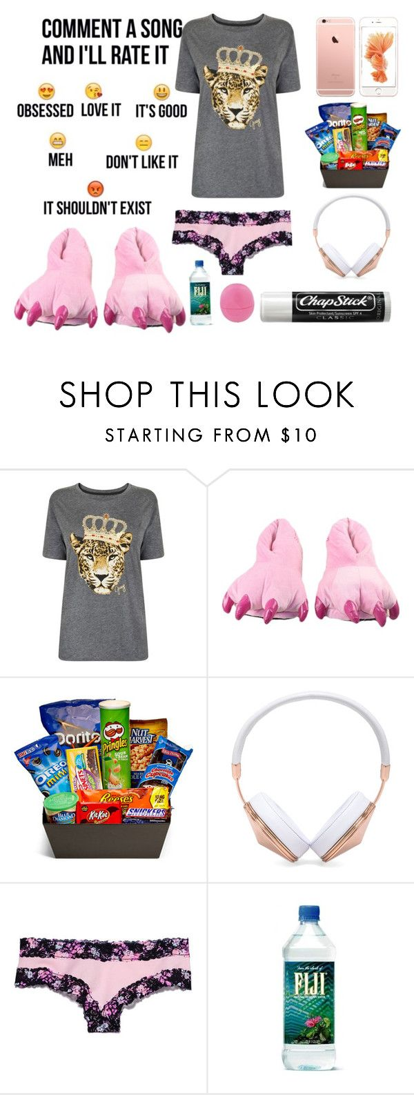 """G nite and plz comment"" by lenathemusicfreak-mindless ❤ liked on Polyvore featuring Chapstick, Juicy Couture, Junk Food Clothing, Frends, Victoria's Secret PINK and Eos"
