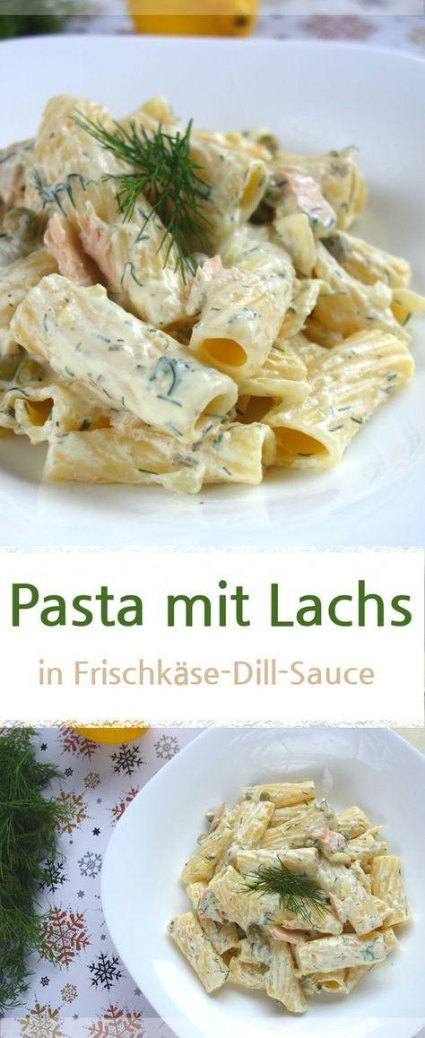 Nudeln mit Lachs und Erbsen in Frischkäse-Dill-Sauce - MeineStube