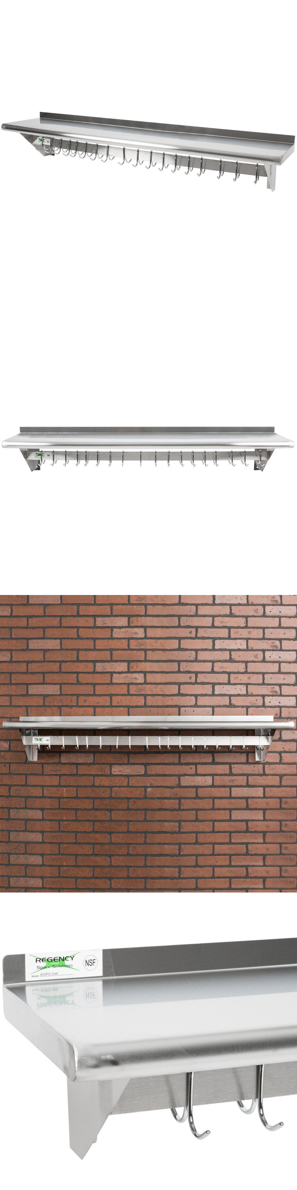 Restaurant Kitchen Racks racks and holders 46283: 12 x 60 stainless steel wall pot rack