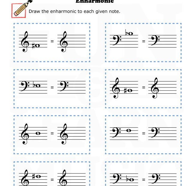music worksheets enharmonic 002 accidentals pinterest music worksheets and worksheets. Black Bedroom Furniture Sets. Home Design Ideas