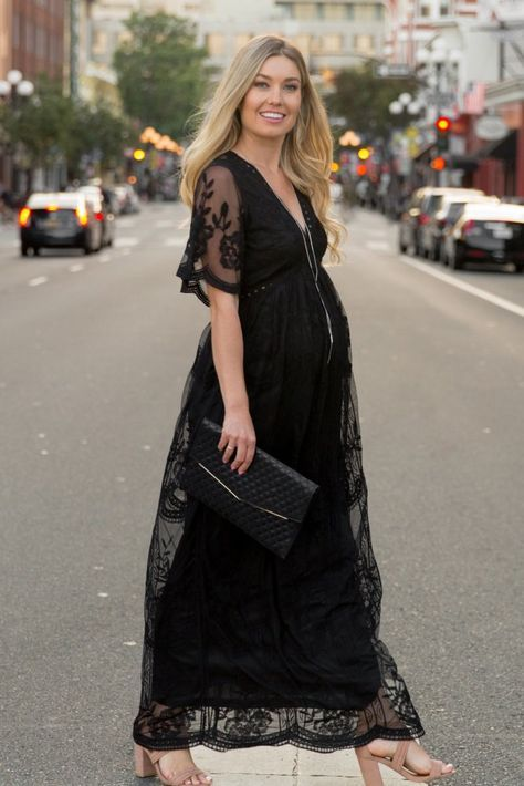 40c522423e5d7 Black Lace Mesh Overlay Maternity Maxi Dress | Wedding ideas ...