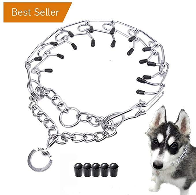 Dog Prong Pinch Training Collar Chrome Plated Adjustable