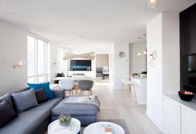 skandinavisch-einrichten-wohnzimmer-offen-essbereich-kueche-helle - wohnzimmer skandinavisch einrichten