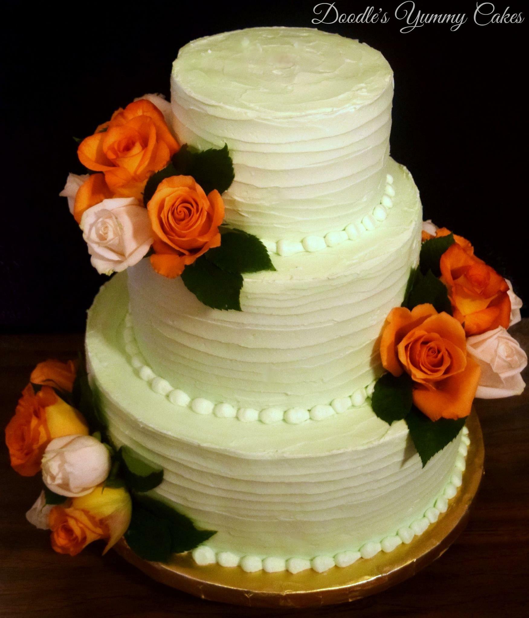 Mint green buttercream wedding cake | My Cakes & Goodies | Pinterest ...