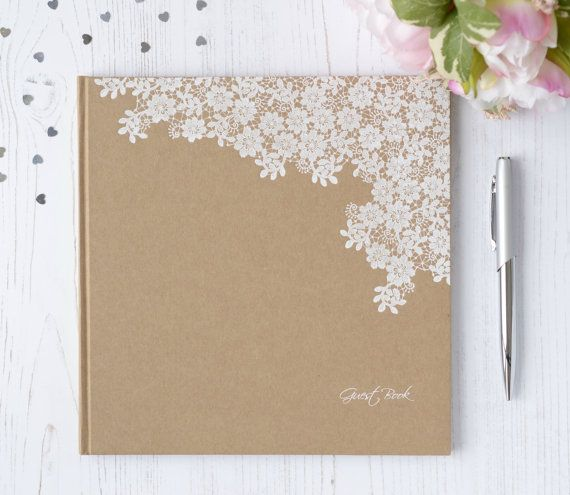 Personalised Wedding Guest Book. Vintage Style Floral Guest Book and ...
