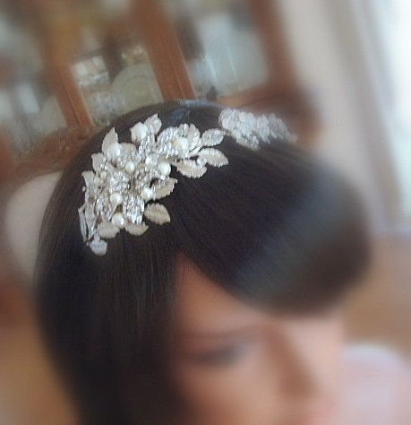 Treasures Handcrafted Crystal and Pearl Headpiece 2