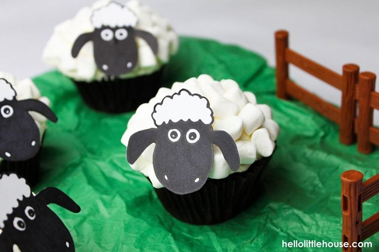 shaun the sheep cupcakes with free printable face template too