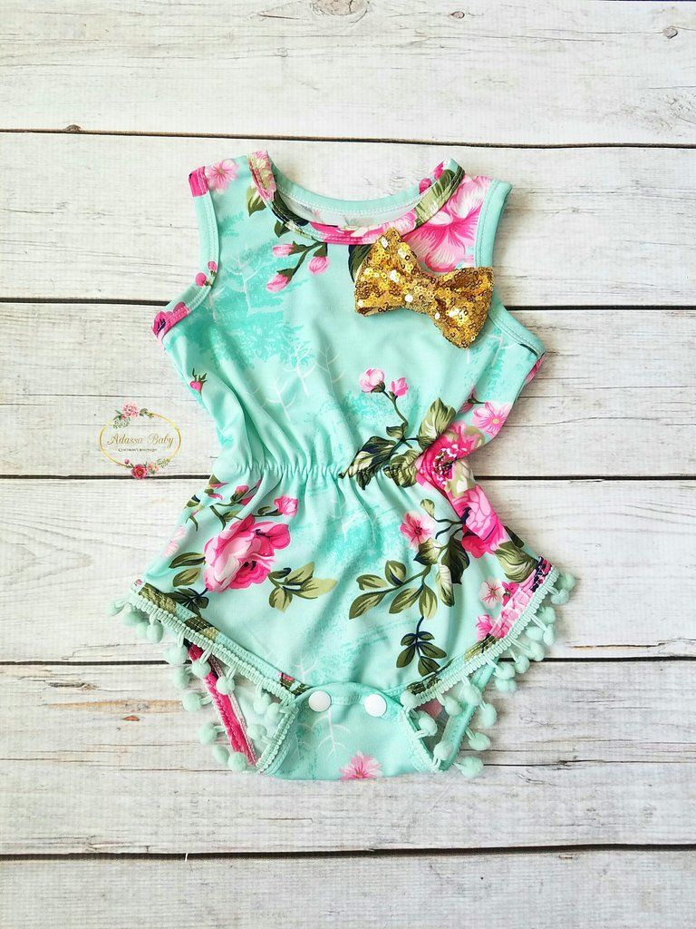 71529265c Ava Mint Pink Gold Floral Pom Pom Romper First Birthday Outfit Girl Baby  Shower Gift Girls Baby Girl Girl Clothes