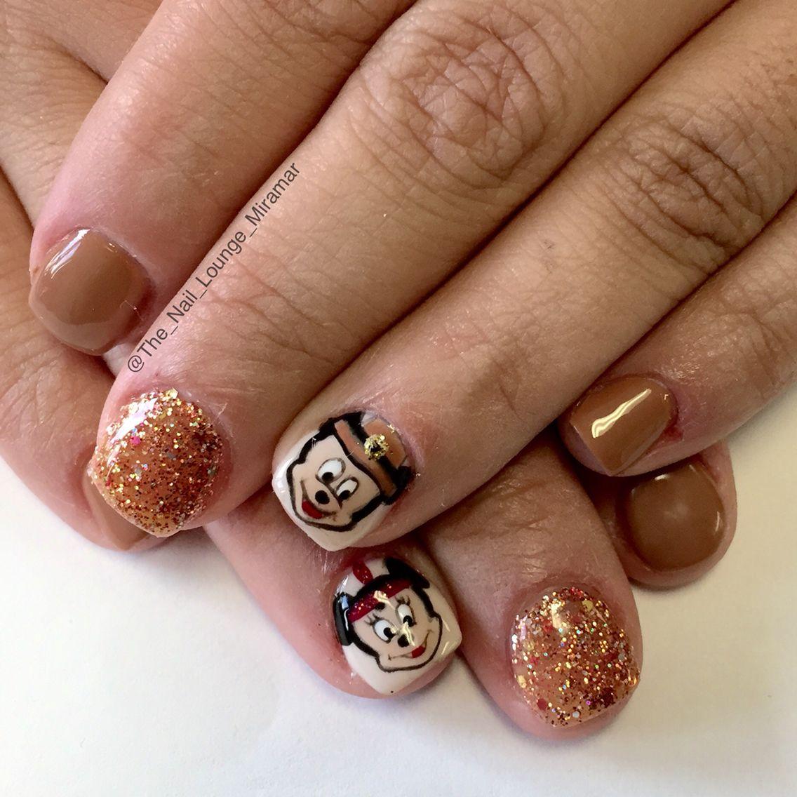 Mickey And Minnie Mouse Thanksgiving Nail Art Design Nail Art