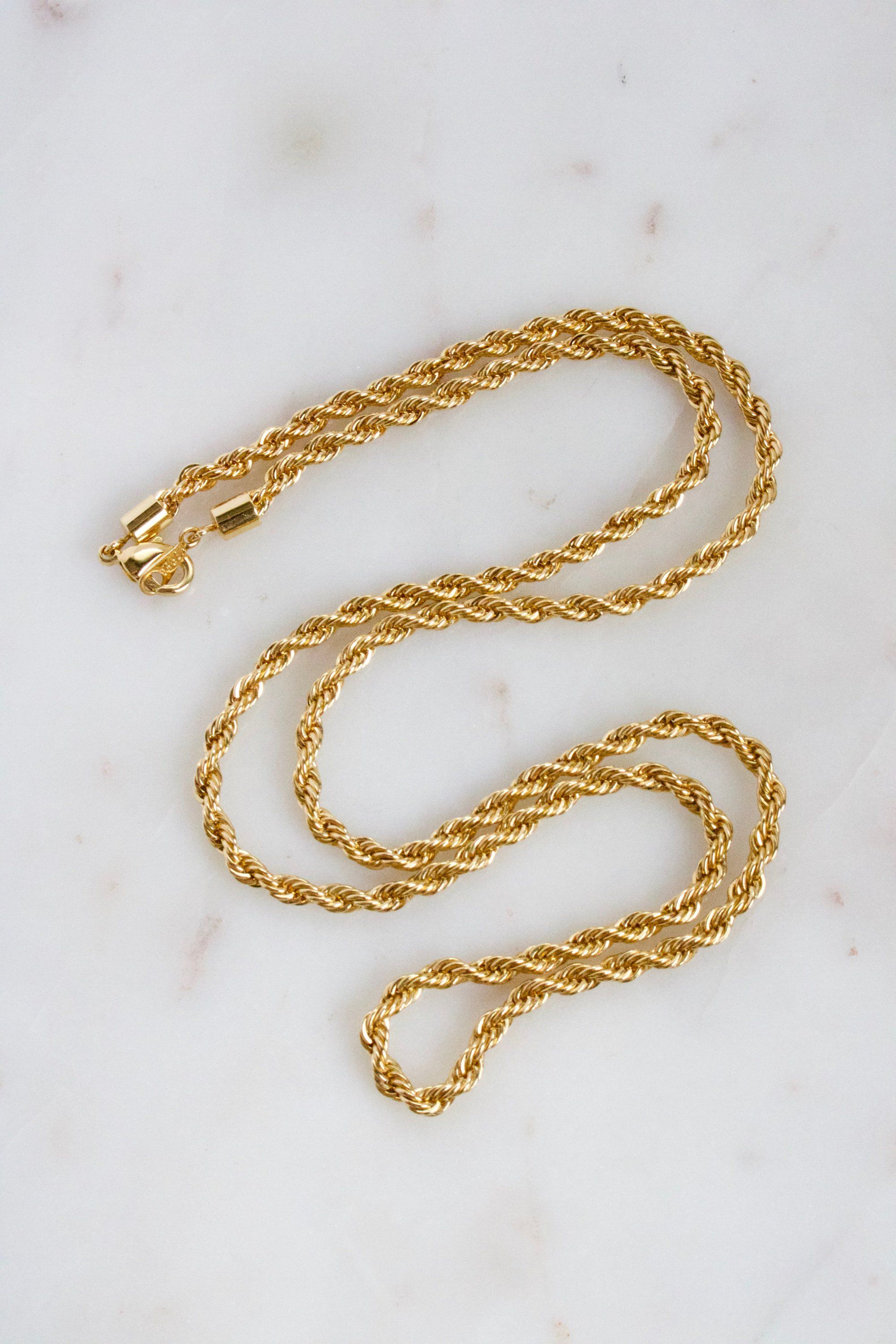 Vintage Korea Twisted Gold Chain Necklace Gold Chain Design Gold Jewelry Fashion Bridal Gold Jewellery