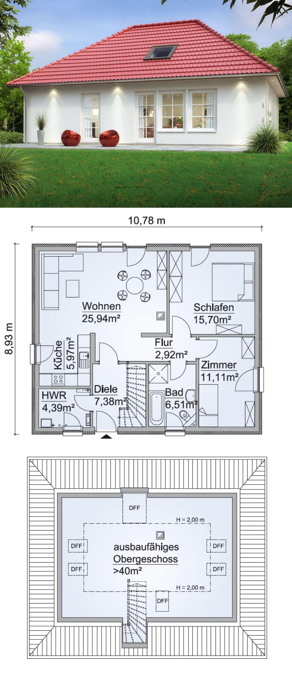 Bungalow Haus Modern Im Landhausstil Grundriss Mit Ausbau Reserve Im