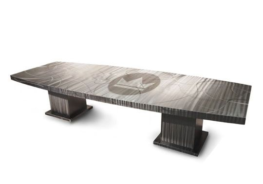Beau King Dinettes: A Solid Metal Conference Table Is Shown In A Brushed Steel  Finish With