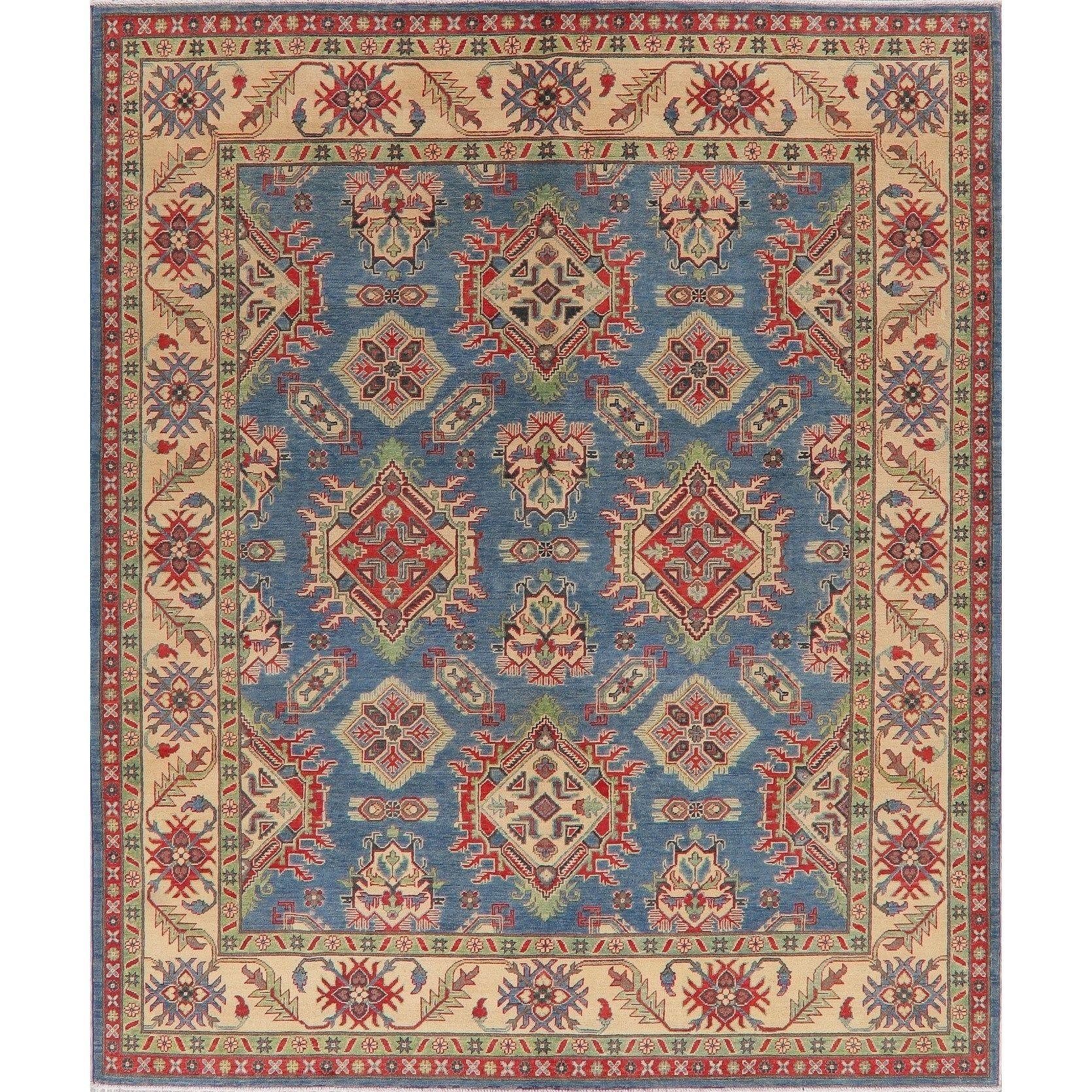 Geometric All Over Super Kazak Blue Oriental Area Rug Handmade 8