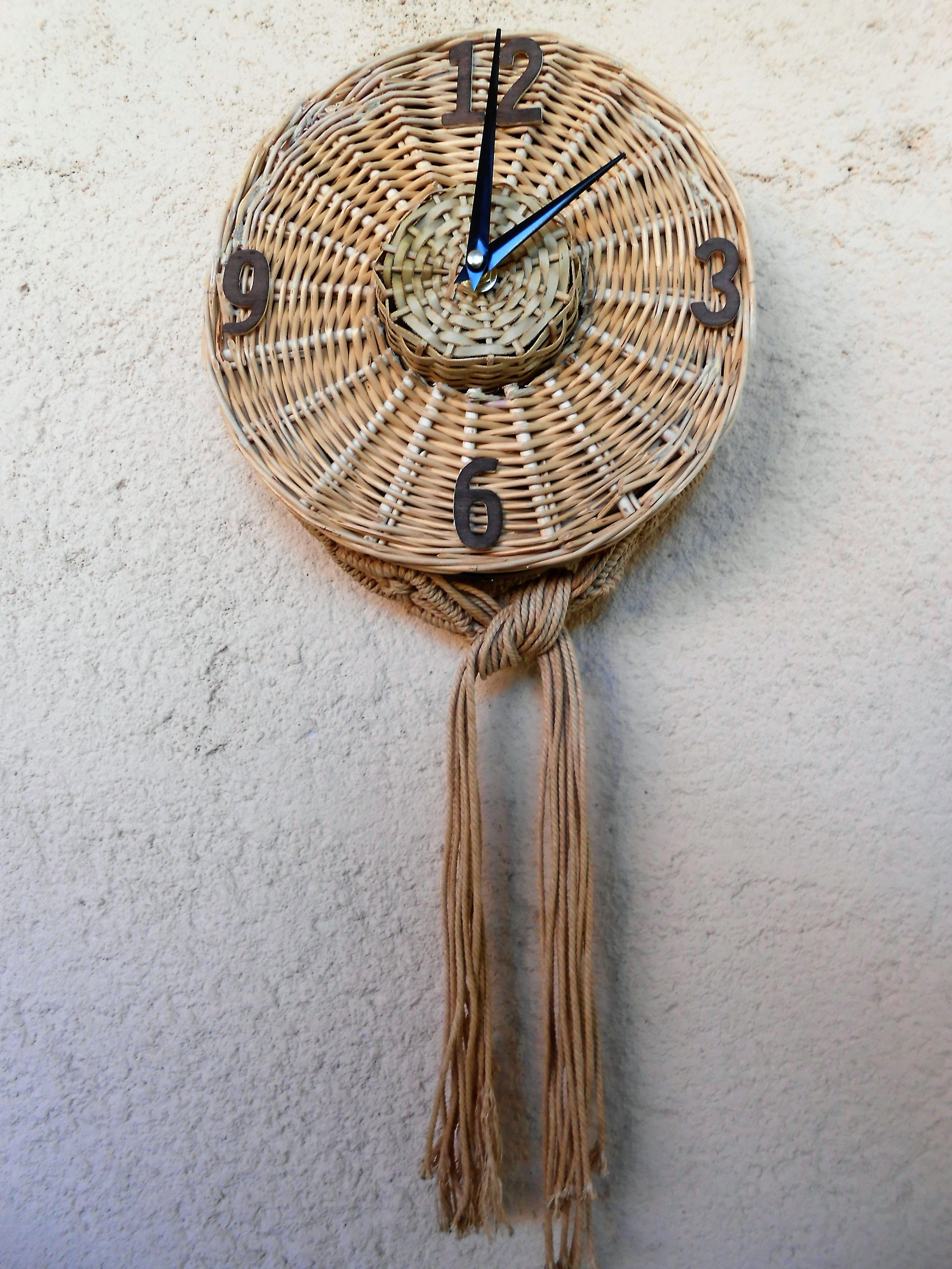 Wall clock macrame woven wicker wall clock pinterest wall clock macrame woven wicker amipublicfo Images