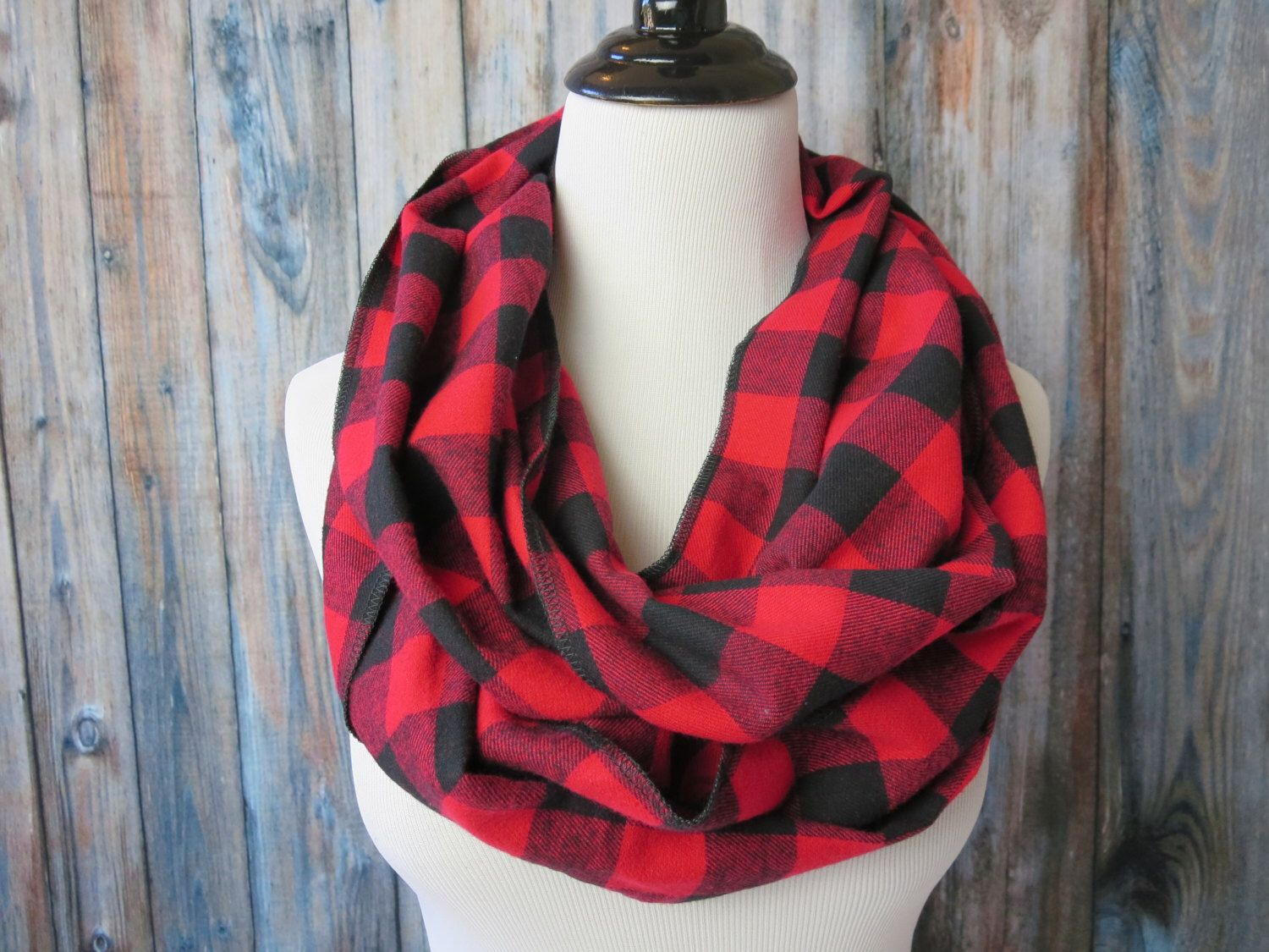 89f40697e Red & Black Buffalo Check Scarf - Red Buffalo Plaid Scarf - Red Plaid  Flannel