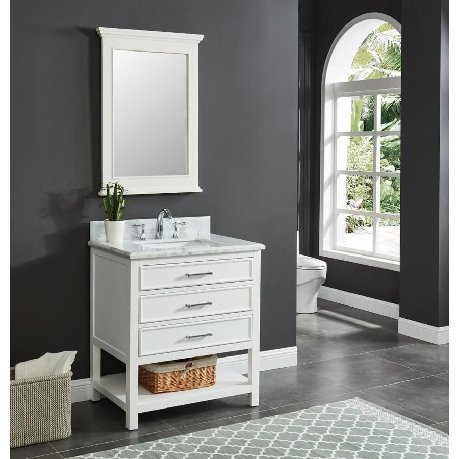 allen roth presnell 31 in dove white single sink on lowes vanity id=38597