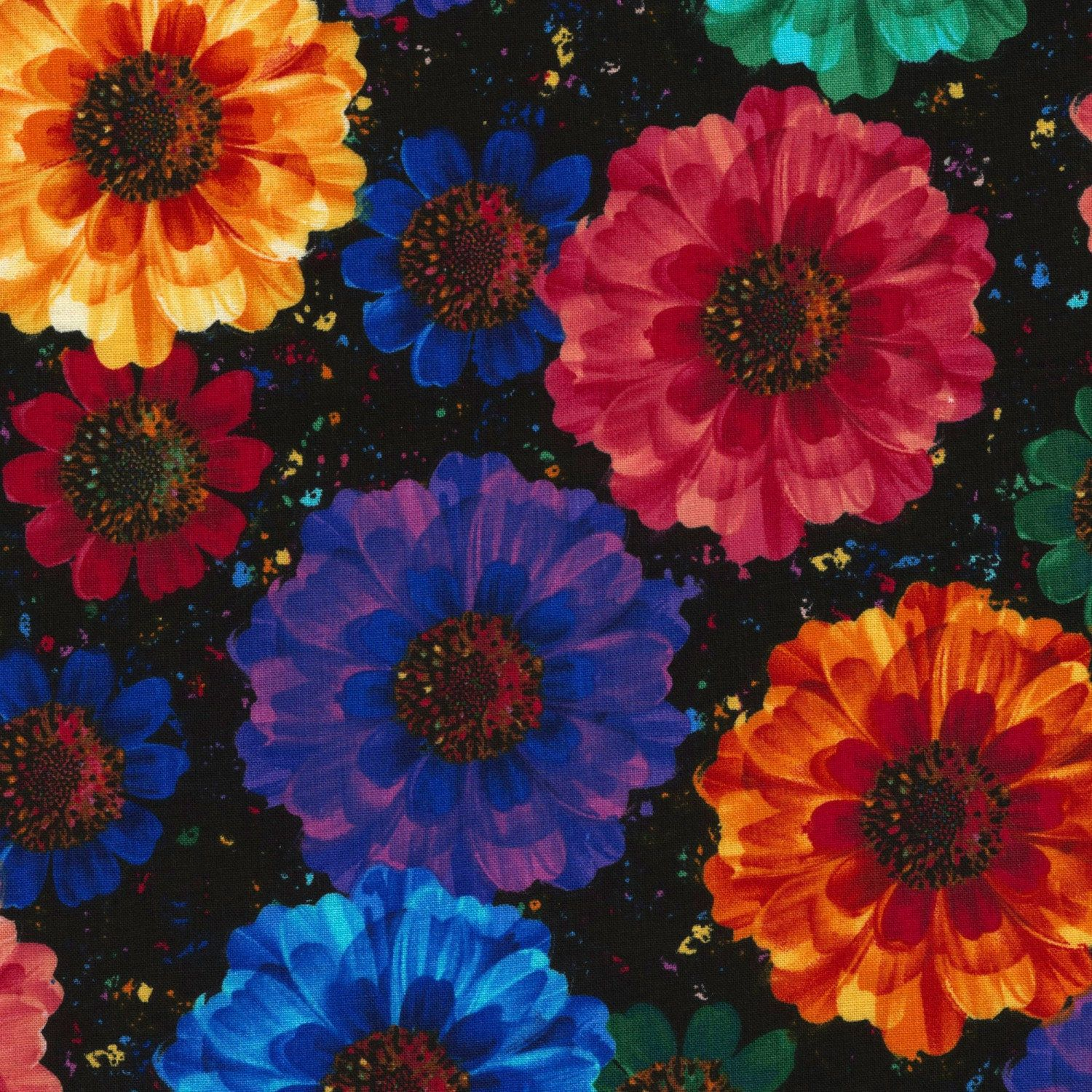 Floral Fabric, Radiance, multi colored flowers, Large Floral Fabric ...